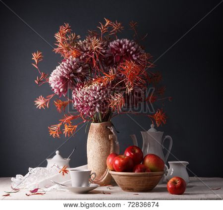 Still Life With Flowers And Utensils For Coffee