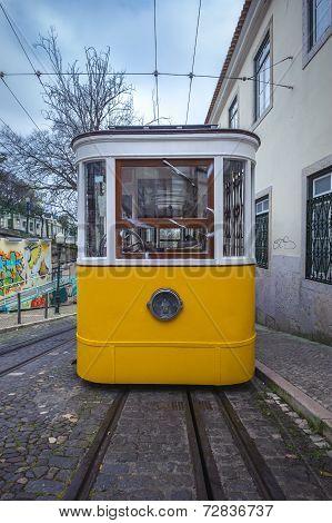 Elevador Da Gloria, Famous Funicular In Lisbon, Portugal