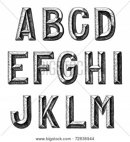 hand draw sketch alphabet design