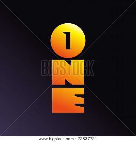 Number one 1 word logo icon design template elements. Vector color sign.
