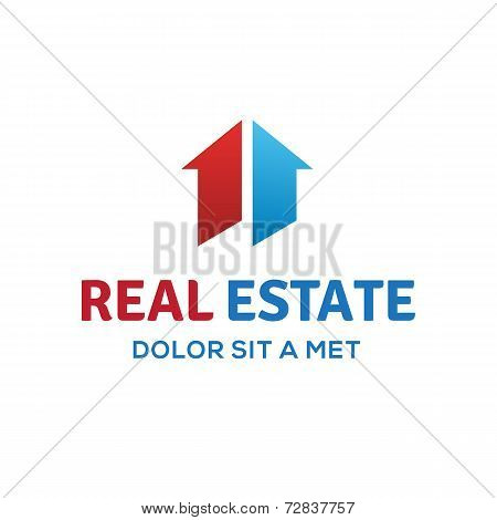 Number one 1 real estate sign logo icon design template with house and arrow. Vector color sign.