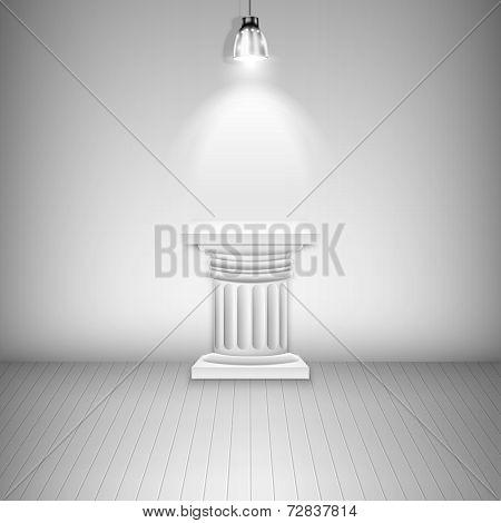 Illuminated Blank Pedestal In Gallery.