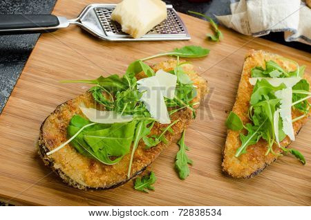 Fried Eggplant, Fried In Parmesan Crust