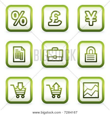 E-business web icons, square buttons, green contour