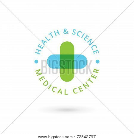 Medical center logo icon design template with cross and plus. Vector sign.