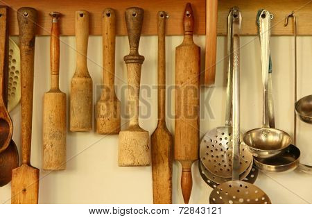 Kitchen Ware On The Wall.