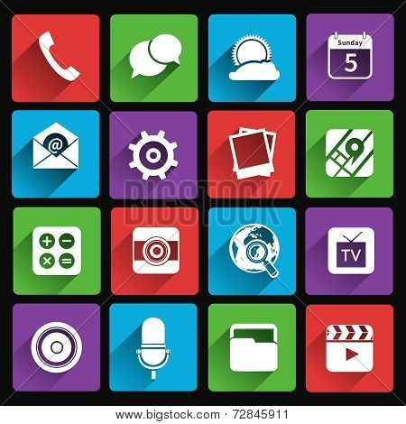 Mobile applications icons flat