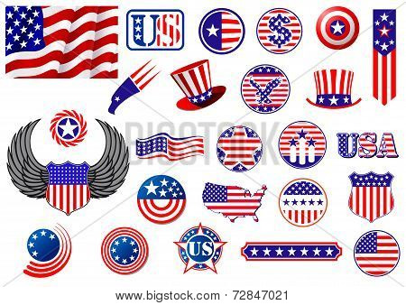 American patriotic badges, symbols and labels