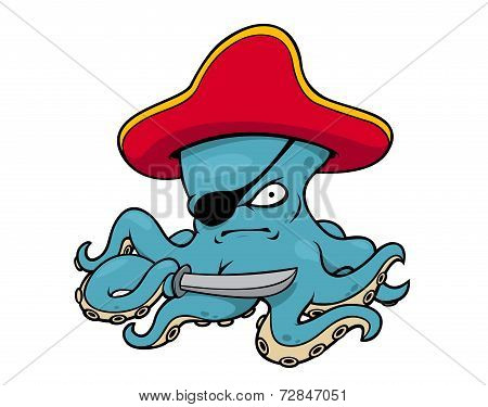 Blue octopus pirate