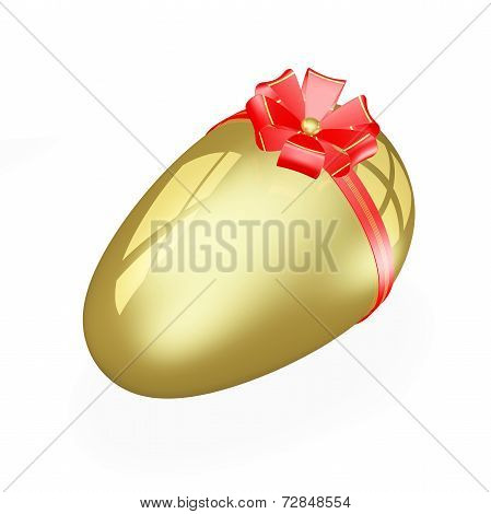 Golden Easter Egg With Red Bow And Ribbon