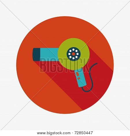 Hair Dryer Flat Icon With Long Shadow