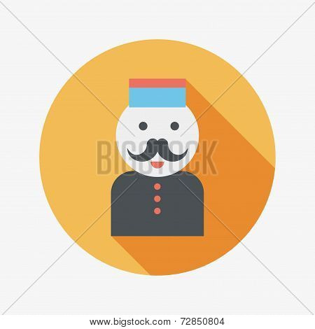 Hotel Bellhop Flat Icon With Long Shadow