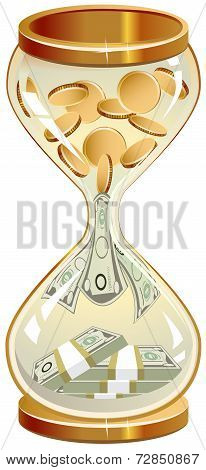 Time is money. Hourglass coins and notes