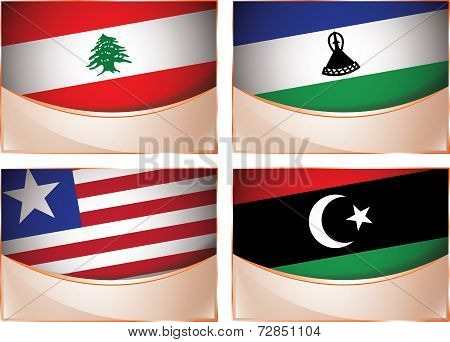 Flags illustration, Lebanon, Lesotho, Liberia, Libya