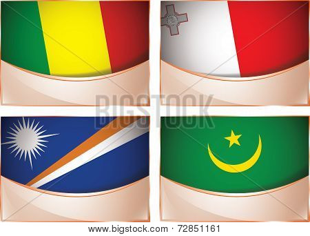 Flags illustration, Mali, Malta, Marshall Islands, Mauritani