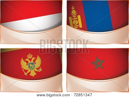 Flags illustration, Monaco, Mongolia, Montenegro, Marocco