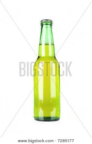 Green Beer Bottle On White