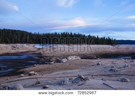 Drained Reservoir in Sierra Nevada, California