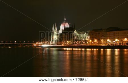 Budapest, Side View Of Parliament