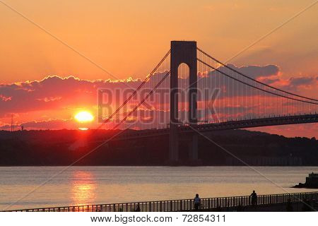 Verrazano Bridge at sunset in New York