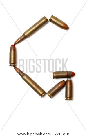 Letter G made of cartridges isolated