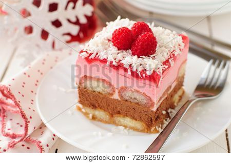 No Bake Chocolate, Raspberry And Savoiardi Layer Cake