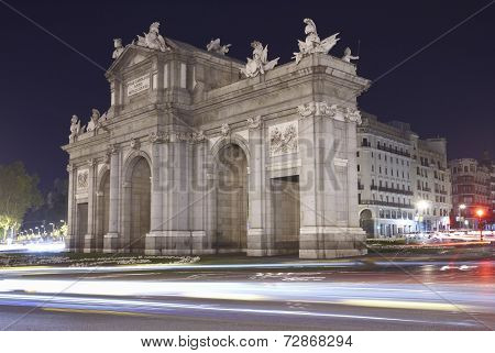 Madrid By Night. Puerta De Alcala. Spain