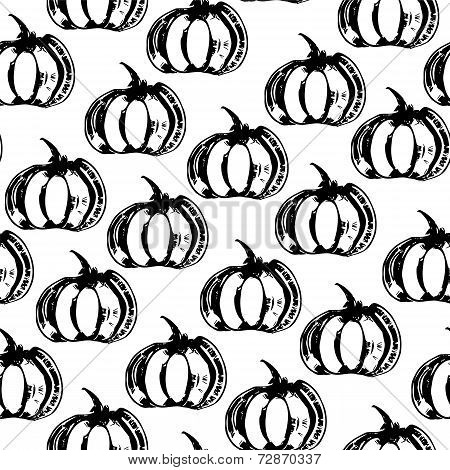 Black and white seamless pattern with pumpkins