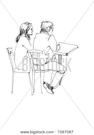 fellow and girl at the table
