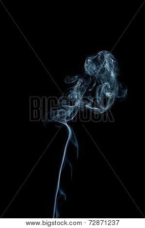 Blue Smoke Trail On Black Background