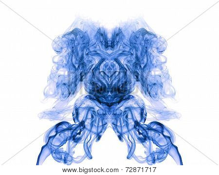 Blue Artistic Smoke On White Background