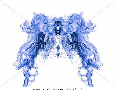 Blue Smoke Pattern On White Background