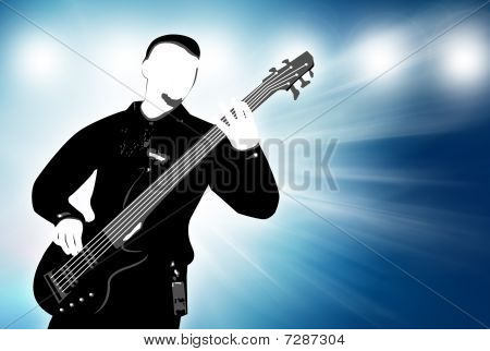 Guitarist Silhouette On Abstract Background