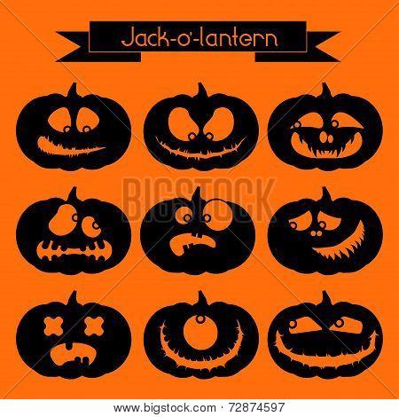 Jack-o'-lantern. Set of 9 decorative elements