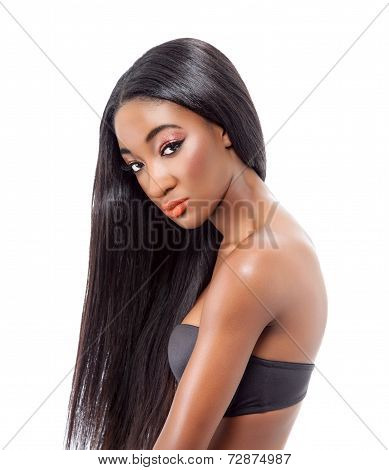Beautiful African Model With Long Hair