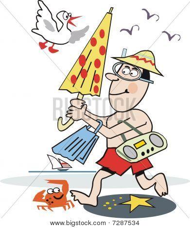Funny beach cartoon