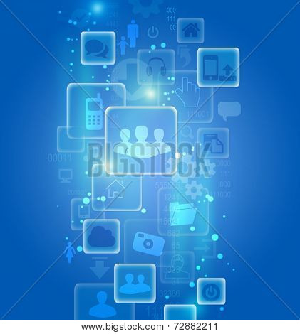 Set of icons in an abstract visualization on a blue background.