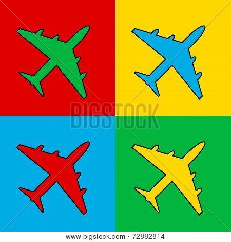 Pop Art Airplane Icon