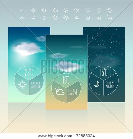 Mobile Weather Widget Interface icon and Wallpaper Background Vector Design Template. Graphic design