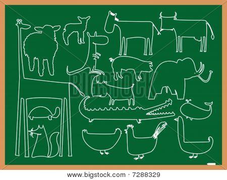School Animals Drawing