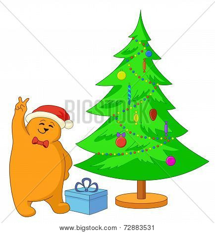 Teddy bear and Christmas tree