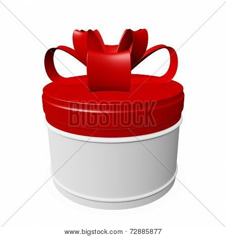 Round Gift Box With Red Lid And Bow Ribbon