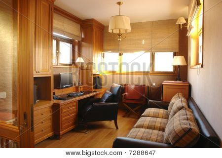 interior of a living room and office room at  home