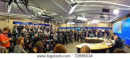 Moscow, Russia - Sept 30, 2014: Media Journalists Took Part In Remote Tv Bridge Moscow - Beijing At