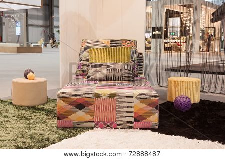 Missoni Sofa On Display At Homi, Home International Show In Milan, Italy