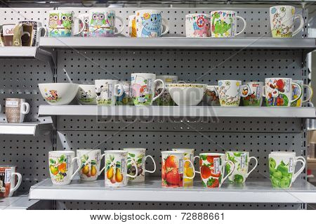 Mugs On Display At Homi, Home International Show In Milan, Italy