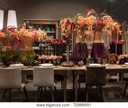 Table With Flowers At Homi, Home International Show In Milan, Italy