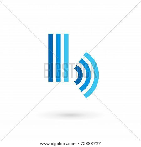 Letter B wireless logo icon design template elements. Vector color sign.