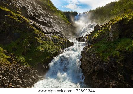 Giant Kjosfossen Waterfall In Flam - Norway