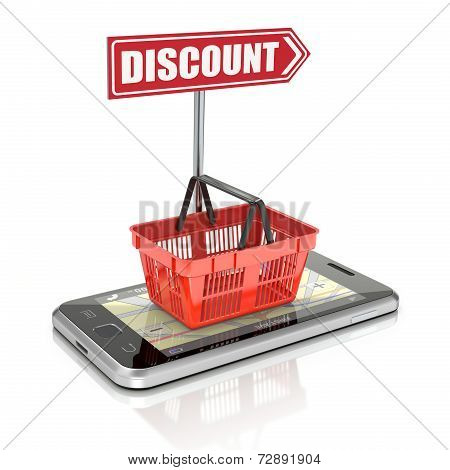 Shopping basket on the smartphone